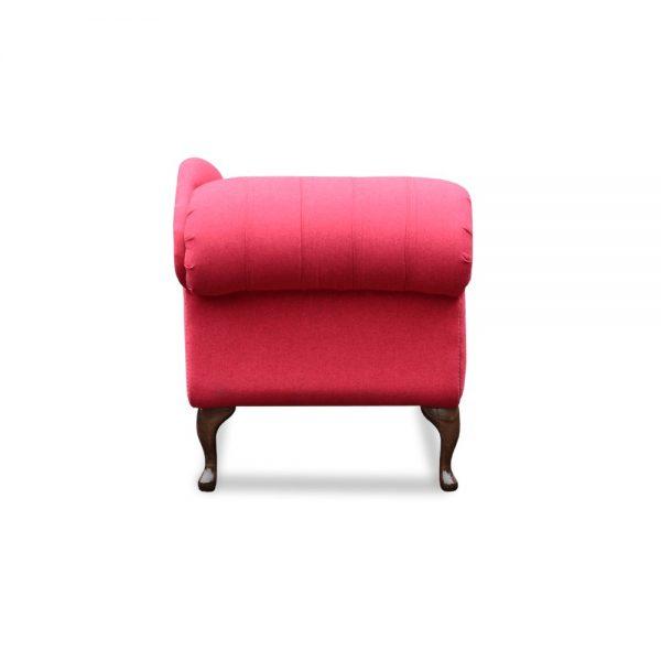 Queen Anne chaise - velvet highlander crimson