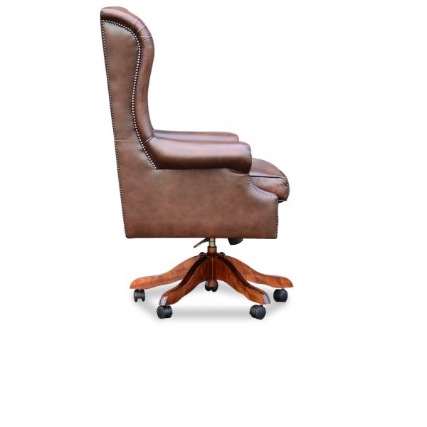 Roll arm chair - antique chestnut